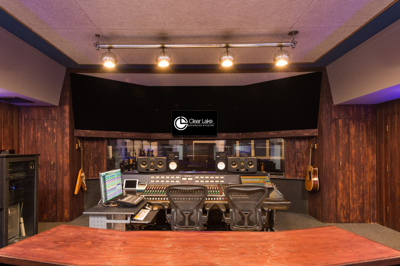 Studio A Control Room wide shot of Clear Lake Recording.